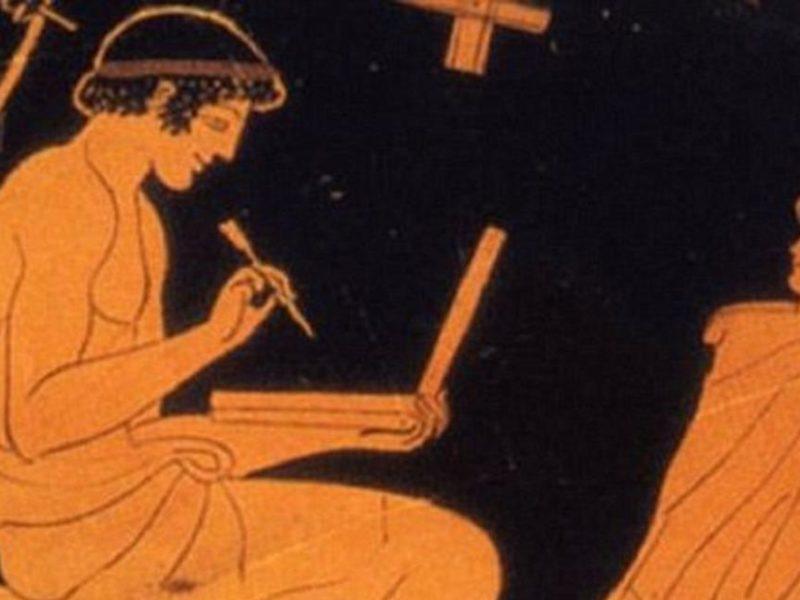Atheense Roodfigurige vaas, man met schrijftablet